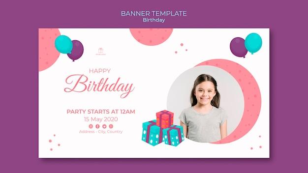 Zadowolony Urodziny Młoda Dziewczyna Szablon Transparent Darmowe Psd