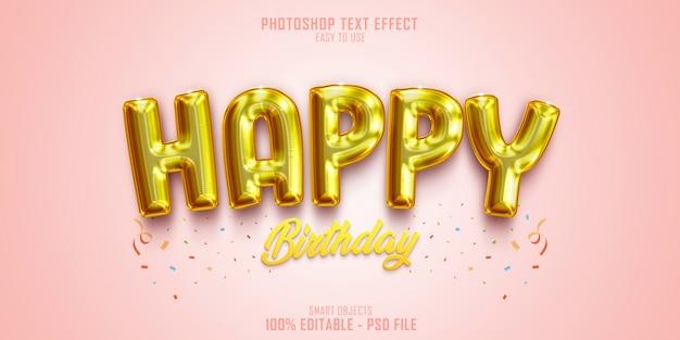 Zadowolony Urodziny Szablon Efektu Stylu Tekstu 3d Premium Psd