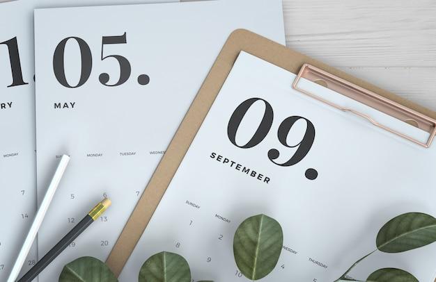 Zamknij się makieta kalendarza schowka Darmowe Psd
