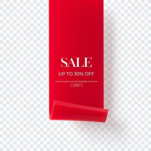 Zamknij Się Na 3d Czerwony Sztandar Sprzedaży Na Białym Tle Premium Psd