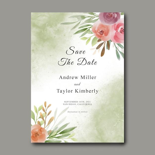 Zapisz Szablon Daty Z Bukietem Kwiatów Akwarela Premium Psd