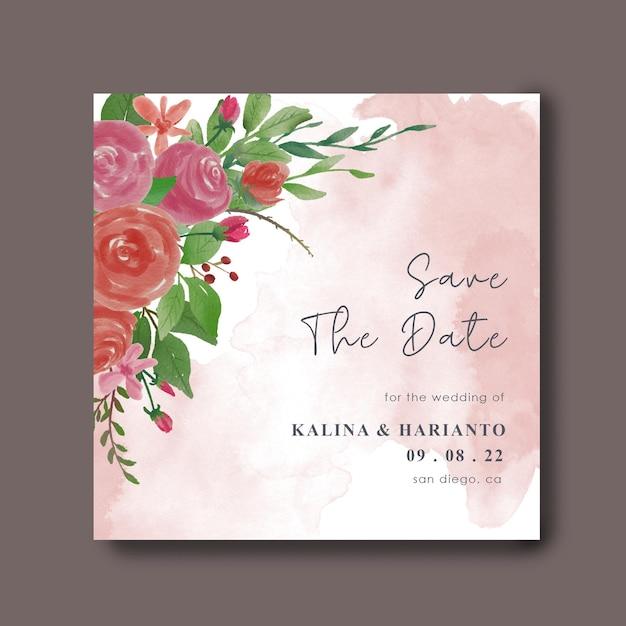 Zapisz Szablon Karty Daty Z Akwarelowymi Dekoracjami Kwiatowymi Premium Psd