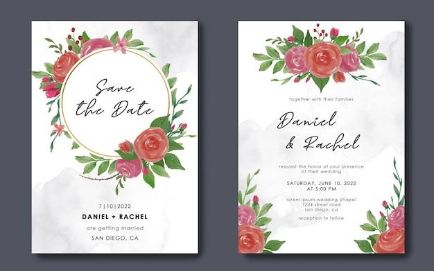 Zapisz Szablony Kart Z Datą I Zaproszenia ślubne Z Akwarelowymi Dekoracjami Kwiatowymi Premium Psd