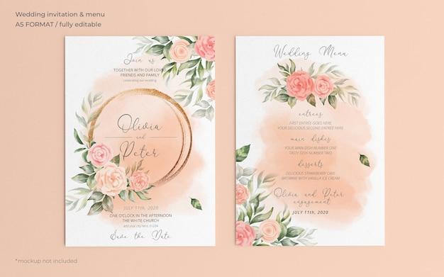 Zaproszenie Na ślub Kwiatowy I Szablon Menu Darmowe Psd