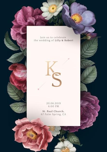 Zaproszenie Na ślub Kwiatowy Darmowe Psd
