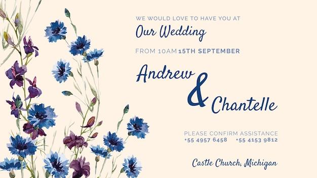 Zaproszenie na ślub z fioletowymi i niebieskimi kwiatami Darmowe Psd