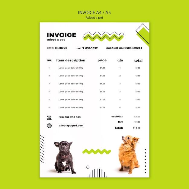 Zastosuj Szablon Faktury Za Plakat Dla Zwierząt Domowych Darmowe Psd