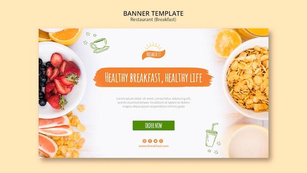 Zdrowe śniadanie, Szablon Transparent Zdrowego Stylu życia Darmowe Psd
