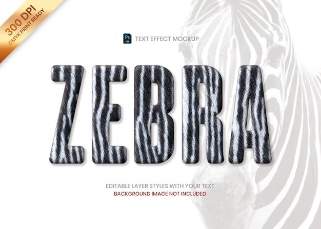 Zebra Paski Futro Zwierząt Wzór Tekst Efekt Psd Szablon. Premium Psd