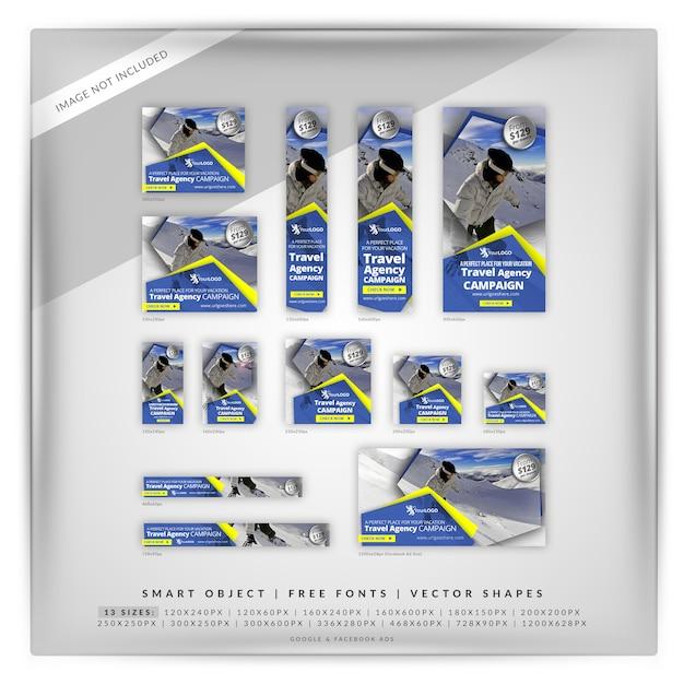 Zestaw bannerów zimowego sportu Premium Psd