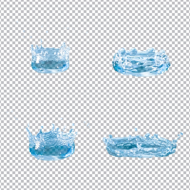 Zestaw Czterech Rozprysków Wody Darmowe Psd