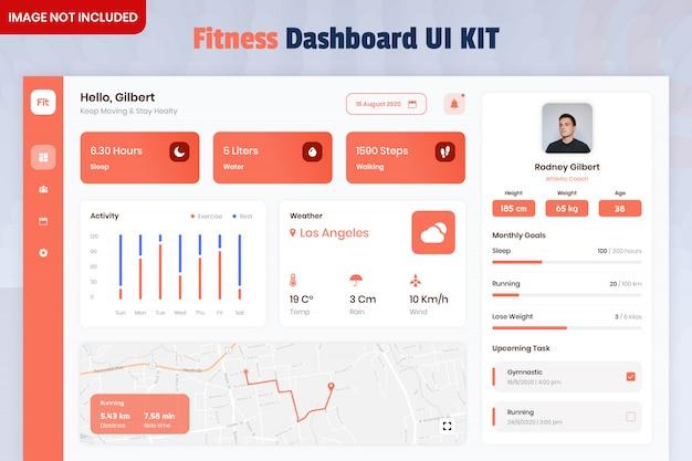Zestaw Interfejsu Użytkownika Aplikacji Fitness Tracker Dashboard Premium Psd