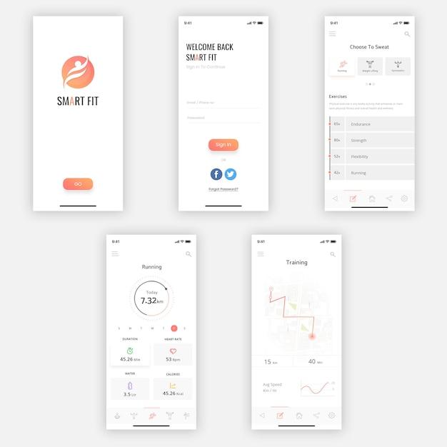 Zestaw smart mobile ui kit Premium Psd