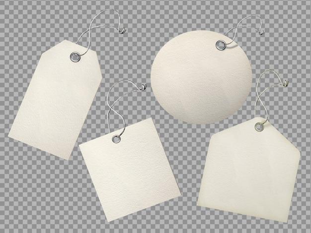 Zestaw Teksturowanego Papieru Realistyczne Puste Etykiety Tag Premium Psd