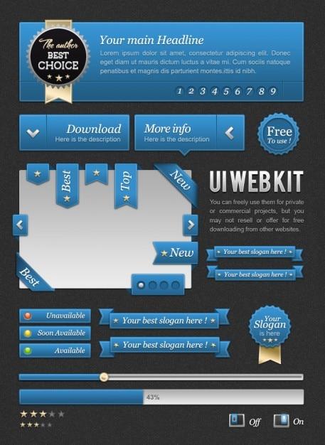 Zestaw web szablon niebieski Darmowe Psd