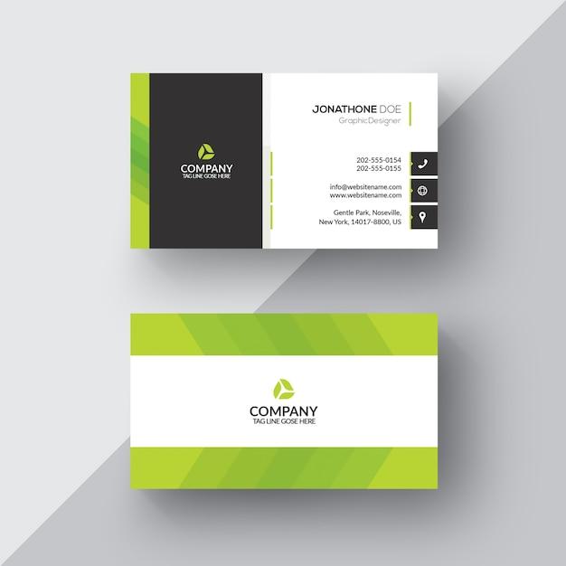 Zielona i biała wizytówka Darmowe Psd