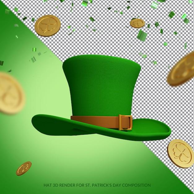 Zielony Kapelusz I Złote Monety Do Renderowania Na Dzień św. Patryka Premium Psd