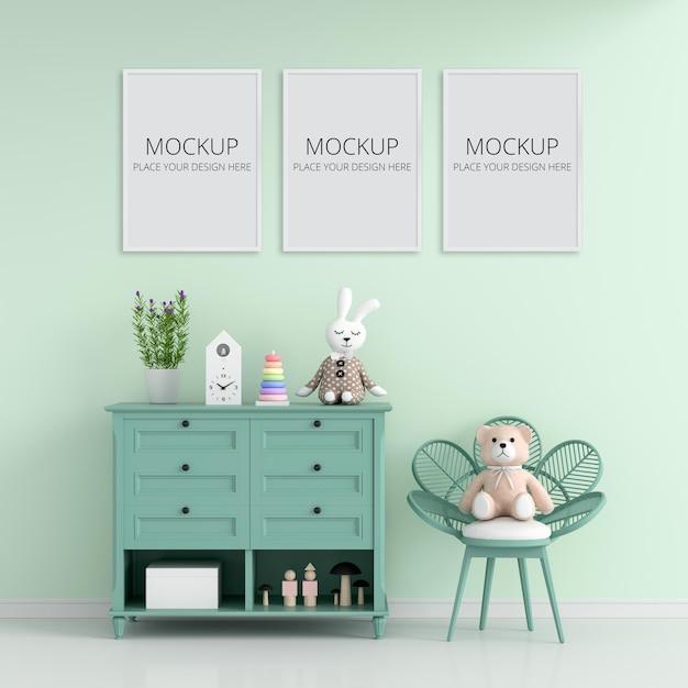 Zielony Pokój Dziecięcy Z Ramą Premium Psd