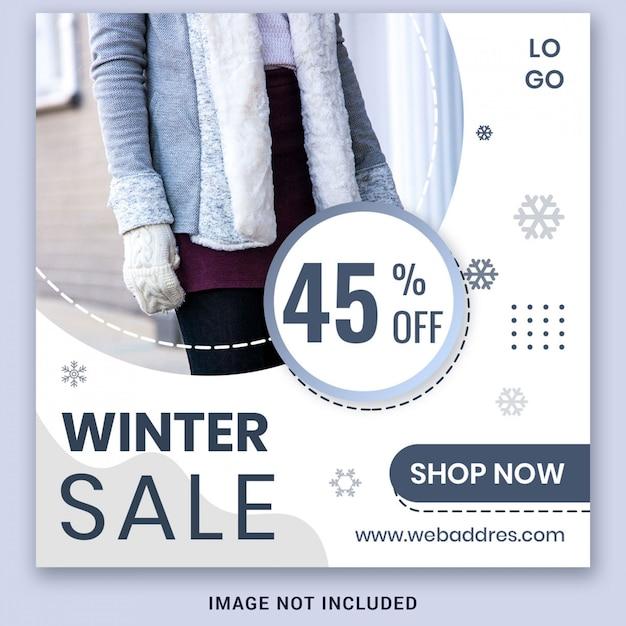 Zimowa Wyprzedaż Szablon Transparent Premium Psd