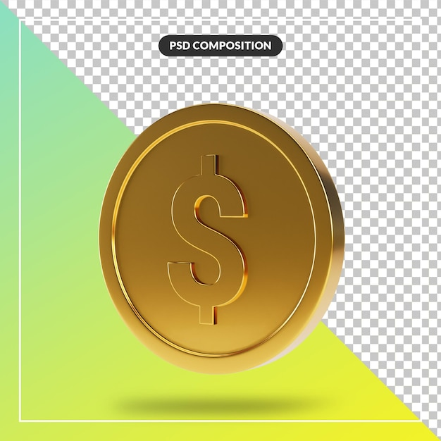Złota Moneta 3d Wizualnej Kompozycji Na Białym Tle Premium Psd