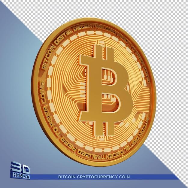 Złota Moneta Bitcoin Kryptowaluta Renderowania 3d Na Białym Tle Premium Psd