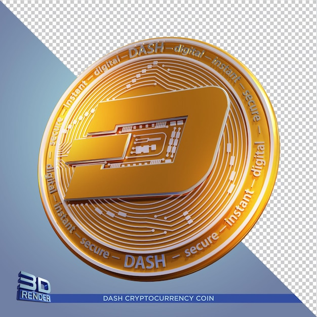 Złota Moneta Dash Kryptowaluta Renderowania 3d Na Białym Tle Premium Psd
