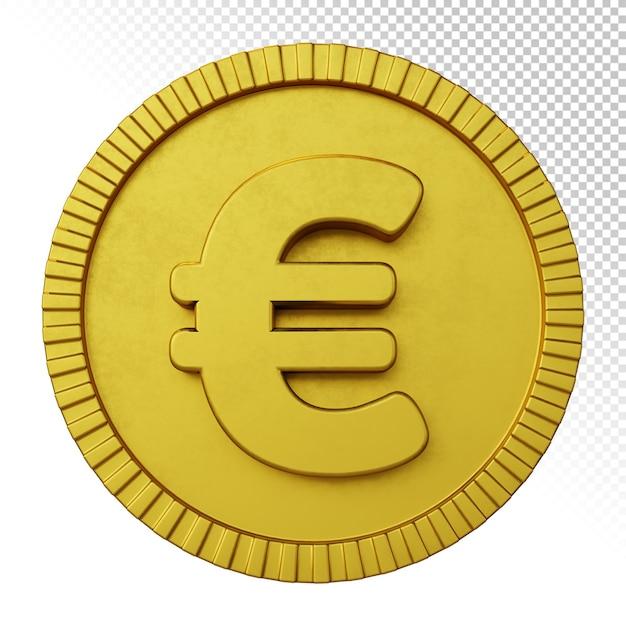 Złota Moneta Euro Symbol Waluty Renderowania 3d Na Białym Tle Premium Psd