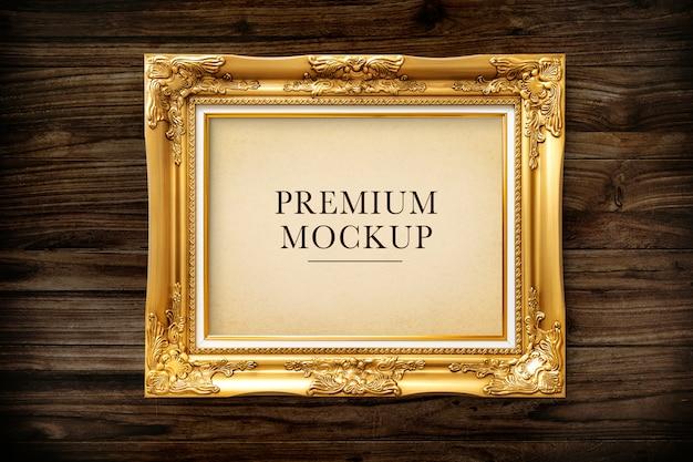 Złota Ramka Na Zdjęcia Makieta Premium Psd