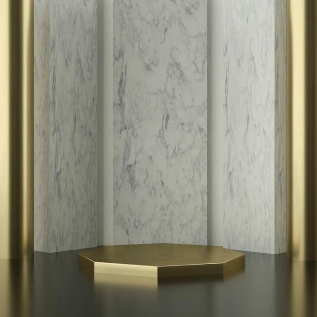 Złota Scena Sześciokątna Z Marmurowymi ścianami Premium Psd