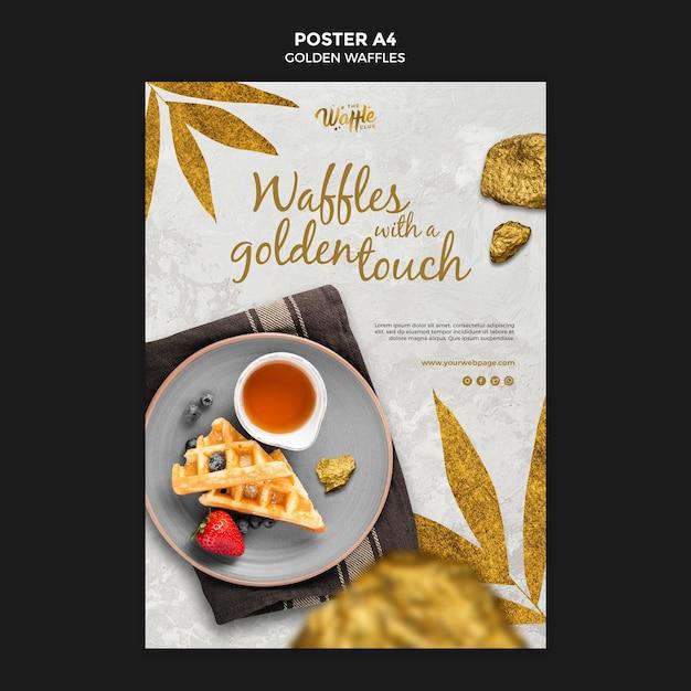 Złote Gofry Z Owocami Plakat Szablon Premium Psd