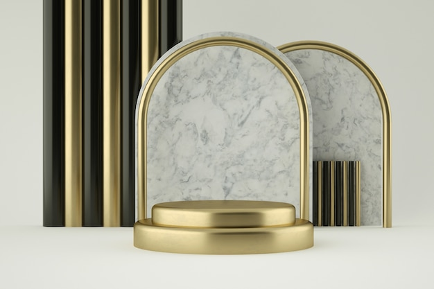 Złote I Marmurowe Podium Do Prezentacji Produktu Premium Psd