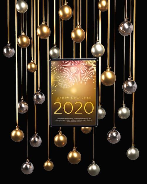 Złote I Srebrne Kule Wiszące Na Nowy Rok Darmowe Psd