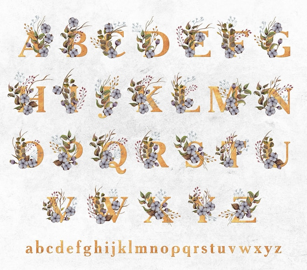 Złote litery z akwarela liści i kwiatów bawełny Premium Psd