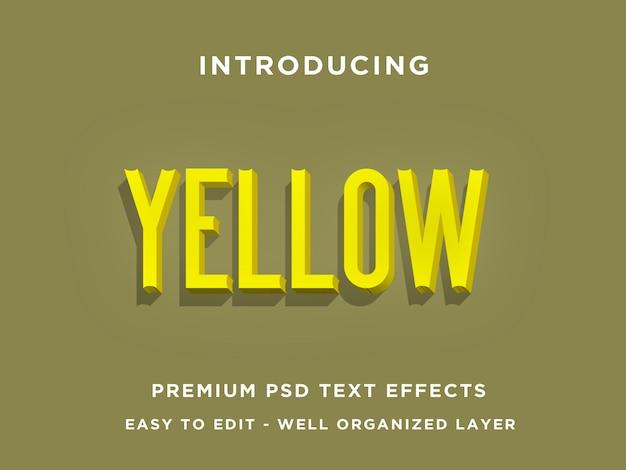 Żółty, premium 3d efekty tekstowe psd Premium Psd