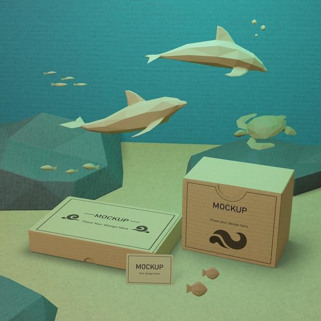Życie Morskie I Kartony Pod Wodą Z Makietą Darmowe Psd