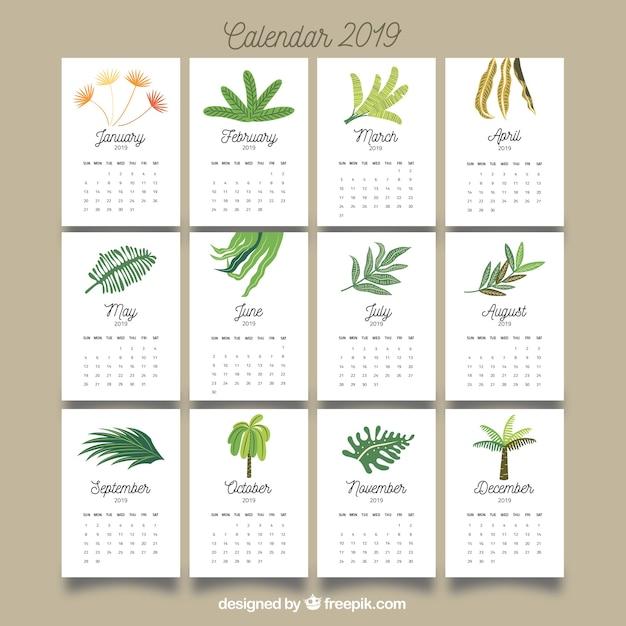 ładne Kalendarz 2019 Z Kolorowych Liści Wektor Darmowe Pobieranie