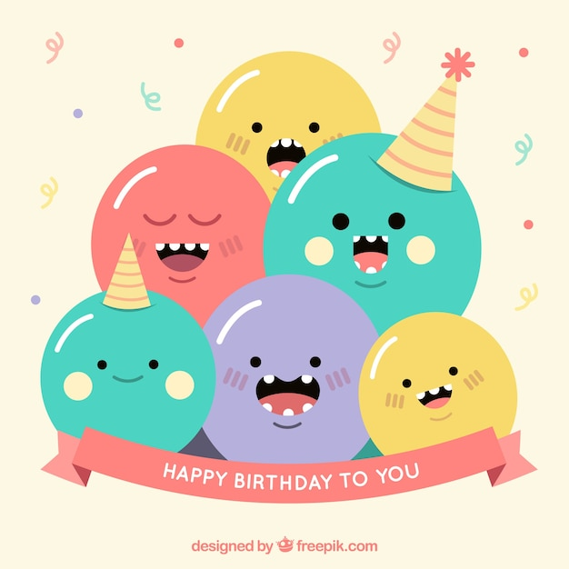 Śmieszne urodziny tle Darmowych Wektorów