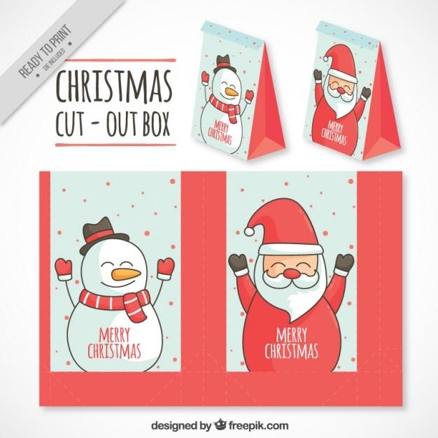 Święty Mikołaj i bałwan wycięte okno Darmowych Wektorów
