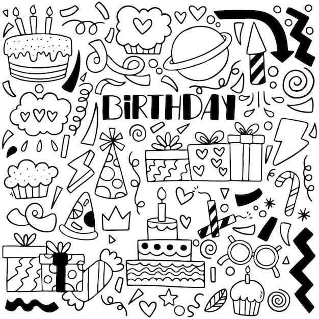 07-09-065 ręcznie rysowane strony doodle wszystkiego najlepszego ozdoby tło wzór ilustracji wektorowych Premium Wektorów