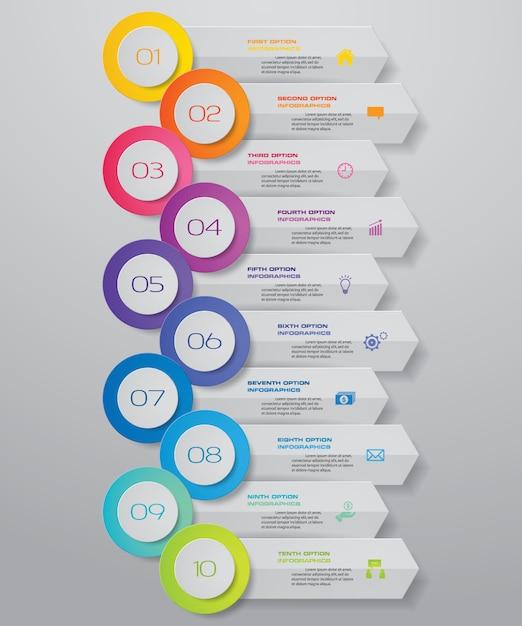 10 kroków strzałka szablon wykresu elementu infografiki. Premium Wektorów