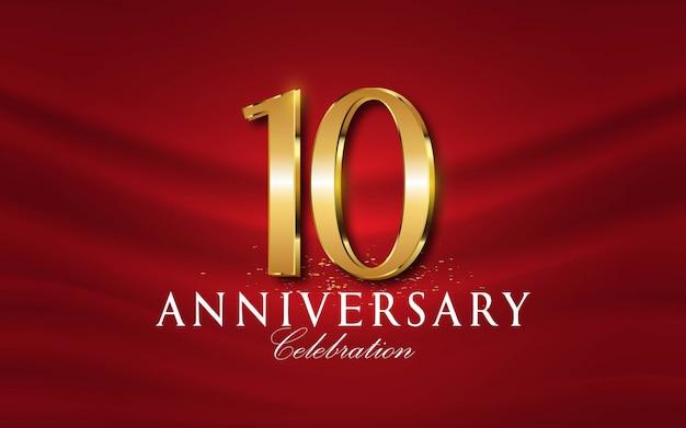 10-lecie Numerów W Złotym Stylu Premium Wektorów