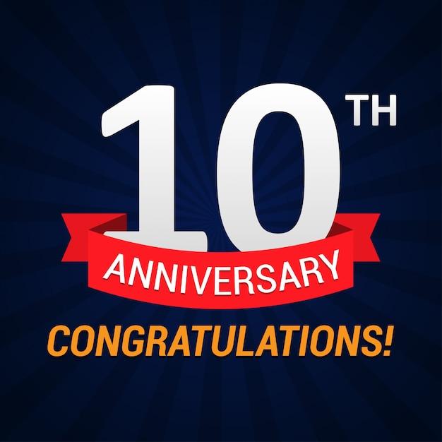 10-lecie obchodów z czerwoną wstążką Premium Wektorów