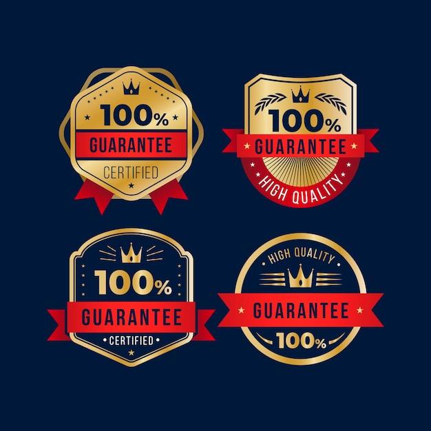 100% Kolekcja Etykiet Gwarancyjnych Premium Wektorów