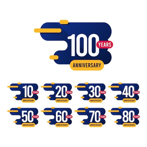 100 Lat Rocznica Niebieski żółty Szablon Projektu Ilustracji Premium Wektorów