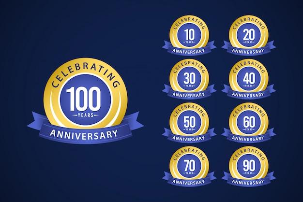 100 Lat Rocznica Zestaw Uroczystości Niebieski I żółty Szablon Projektu Ilustracja Premium Wektorów