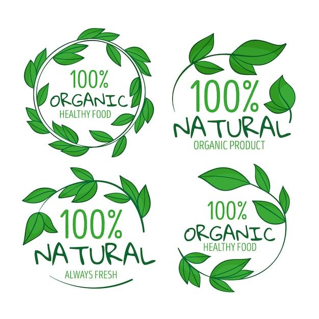 100% Naturalna Kolekcja Odznak Darmowych Wektorów