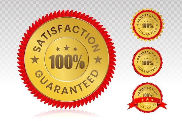 100-procentowa Pieczęć Zadowolenia Klienta Z Przezroczystym Tłem. Premium Wektorów