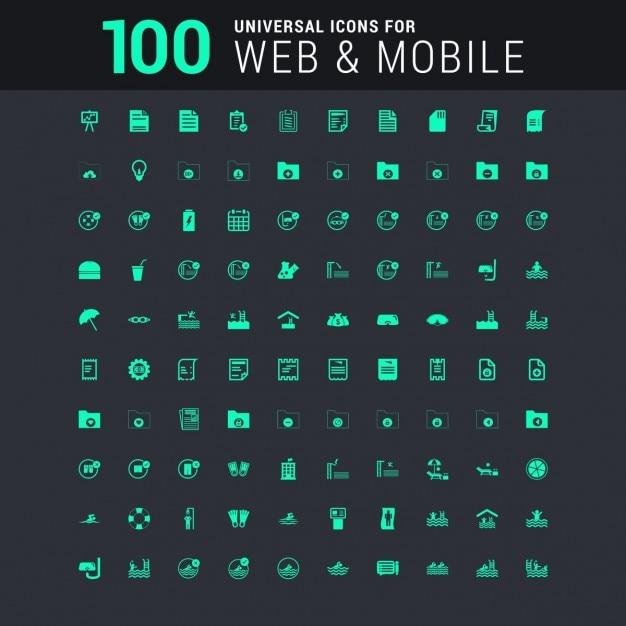 100 Uniwersalny Zestaw Ikon Dla Sieci Web I Mobile Darmowych Wektorów