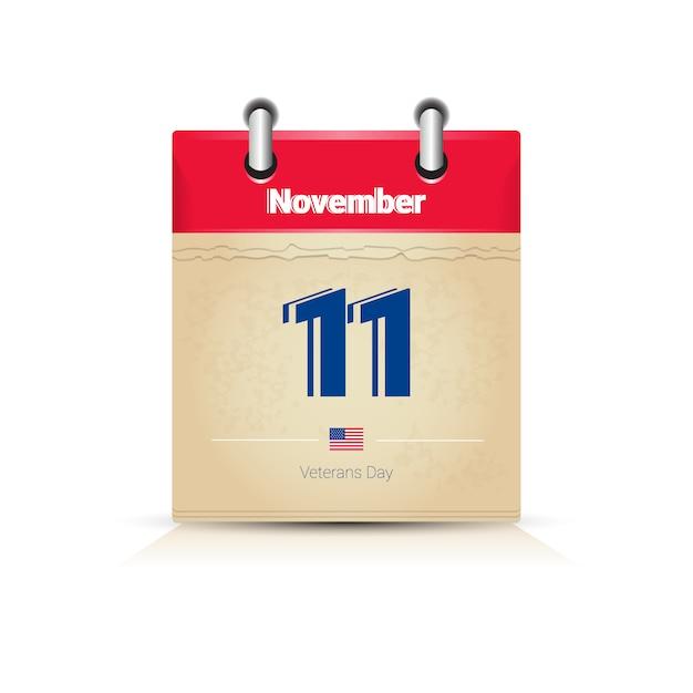 11 listopada strona kalendarza na białym tle święto weteranów dni Premium Wektorów