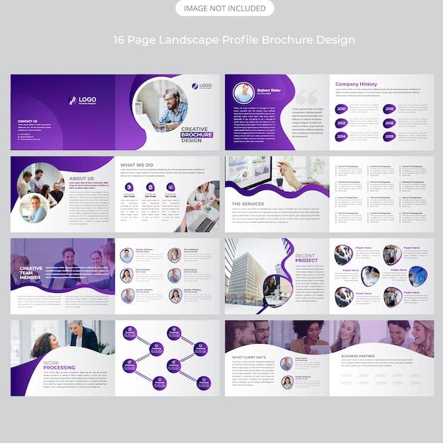 16 Page Firma Projekt Profilu Krajobrazu Premium Wektorów